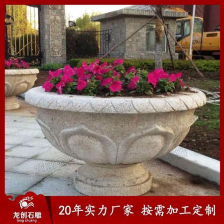 院墙大理石花盆 装饰石材花钵花盆
