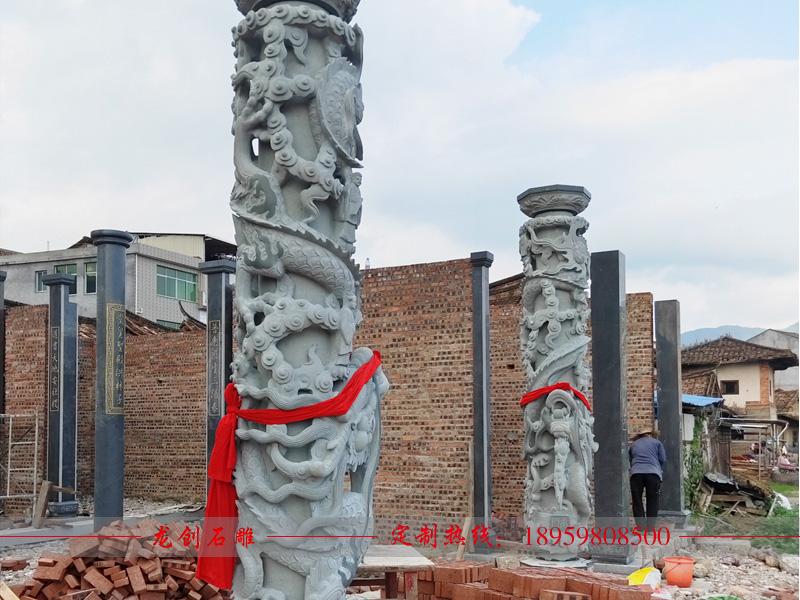 福建省莆田市仙游普玉书院石雕龙柱圆柱安装