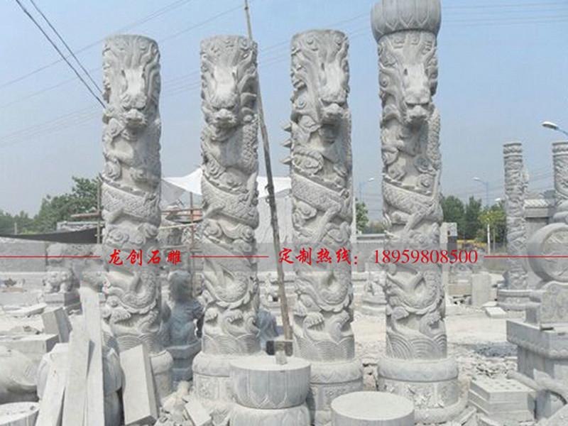 祖庙石头柱子 宗庙石雕龙柱