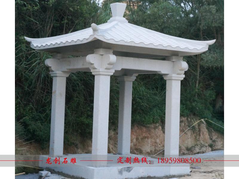 四角石雕凉亭