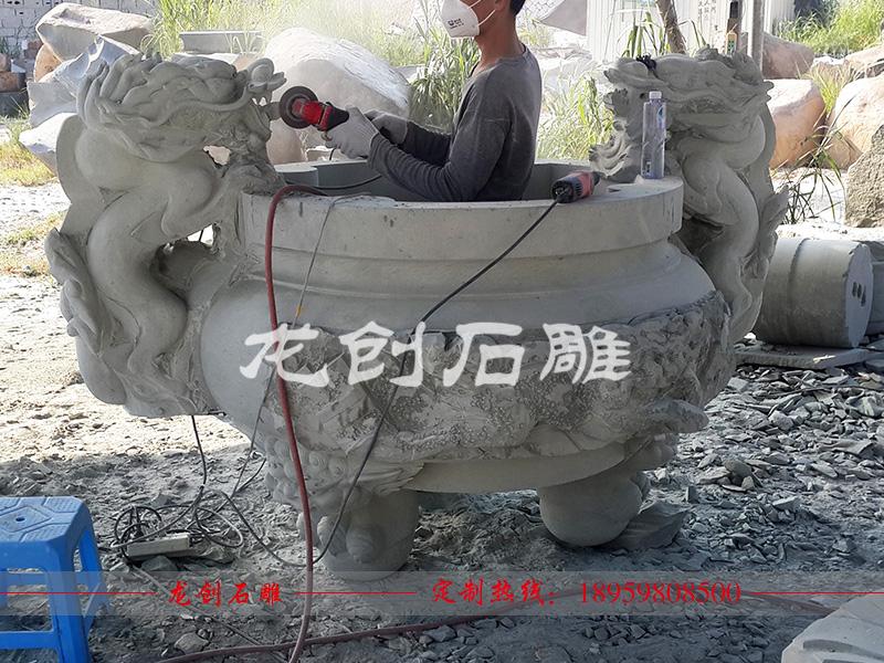 石雕圆形香炉