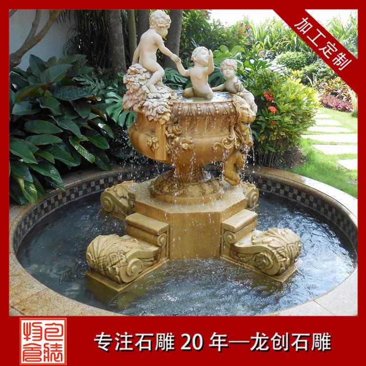 单层石雕水钵图片及样式