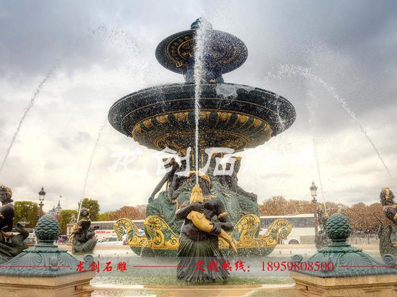 石雕跌水喷泉