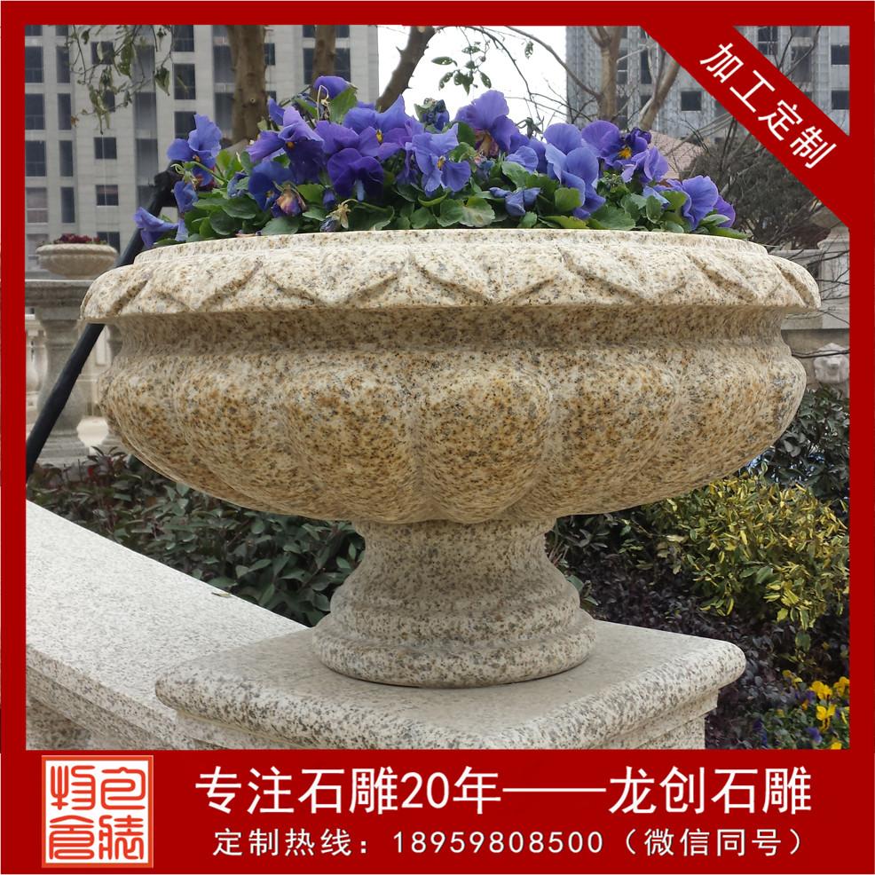 仿古石雕花盆