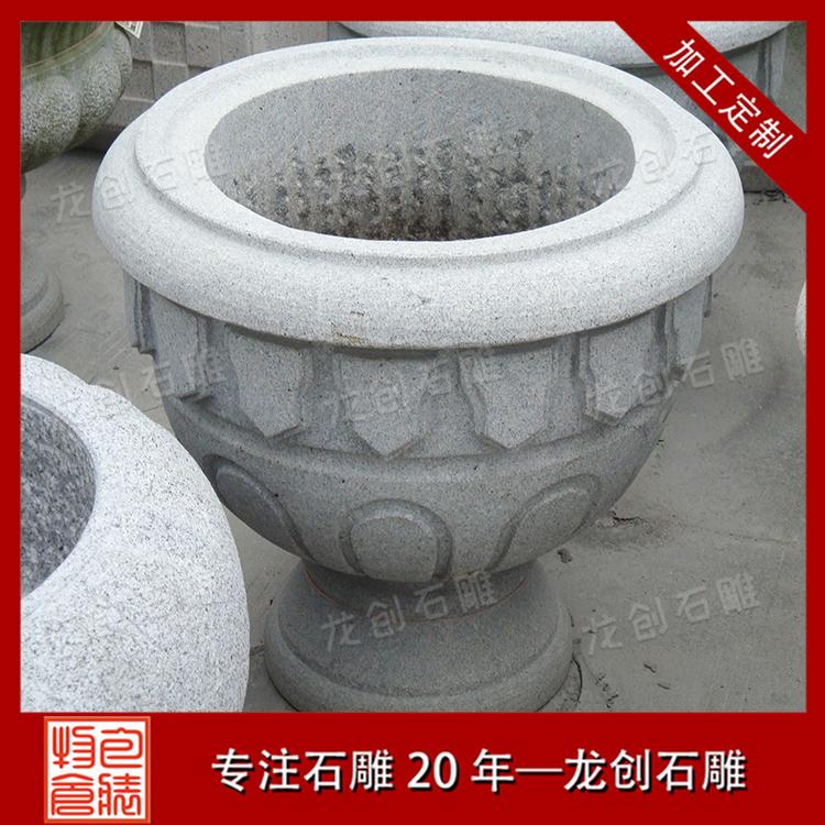 石雕花盆花钵图片