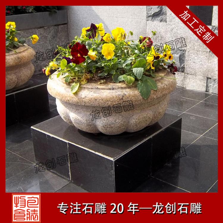 花岗岩石雕花盆样式及图片