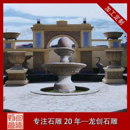 福建石材风水球喷泉厂家——龙创石雕