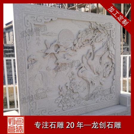 祠堂浮雕图案选择 石雕浮雕松鹤
